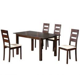 Z.E781,S MILLER set Τραπεζι επεκτεινόμενο με 4 καρέκλες Οξυά Σκούρο Καρυδί/PVC Εκρού