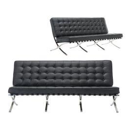 Z.E968,32 BARCELONA καναπές 3θέσιος PU μαύρο 184x83x84cm