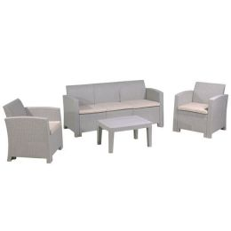Z.E353,1 SAVANNA set σαλόνι K/D σε χρώμα PP sand grey χρώμα, μαξιλάρια μπεζ