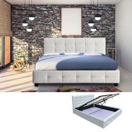 Z.E8053A,1 FIDEL κρεβάτι με αποθηκευτικό χώρο ξύλο/PU άσπρο 168x215x107cm