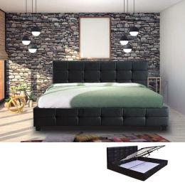Z.E8053A FIDEL κρεβάτι με αποθηκευτικό χώρο ξύλο/PU μαύρο 168x215x107cm