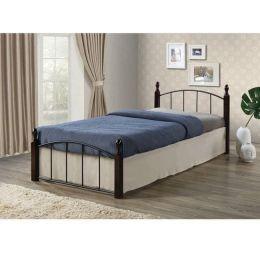 Z.E8096 ARAGON κρεβάτι μονό μεταλλικό μαύρο/ξύλο καρυδί 95x200x76cm