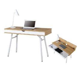 Z.EO420 Γραφείο Η/Υ μεταλλικό σε λευκό/melamine beech χρώμα 115x55x75cm